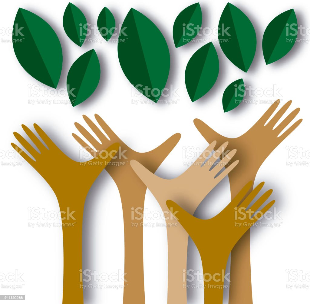 Hands reaching out to the green vector art illustration