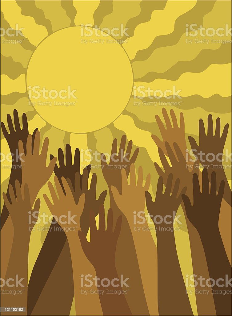 Hands reaching towards the sun royalty-free hands reaching towards the sun stock vector art & more images of color image
