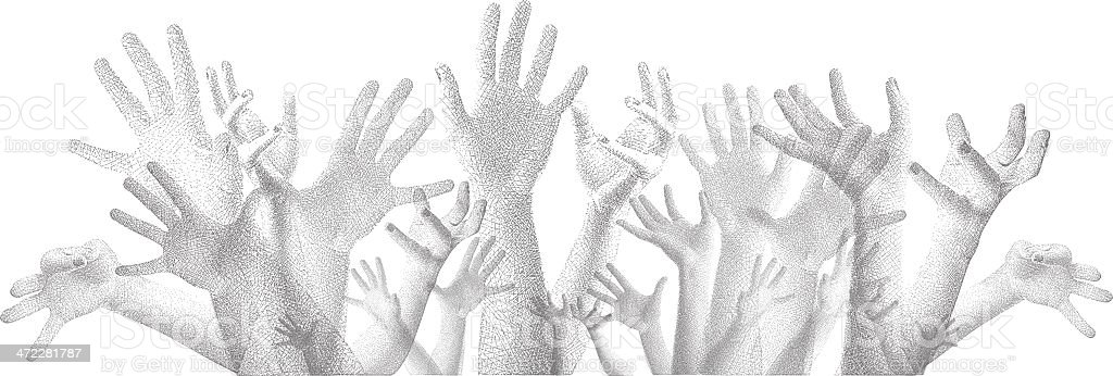 Hands Reaching Up Etching royalty-free stock vector art