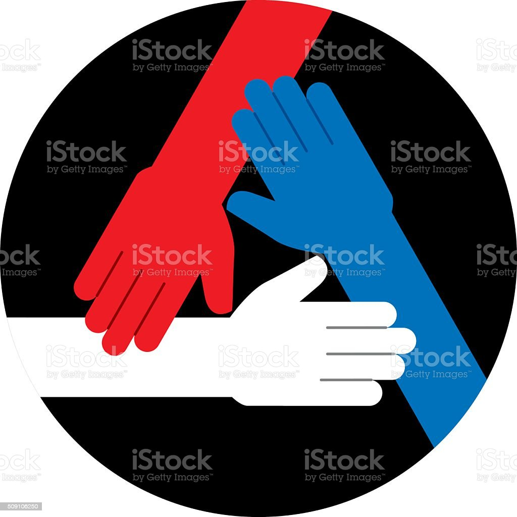 Hands Red White and Blue Icon vector art illustration