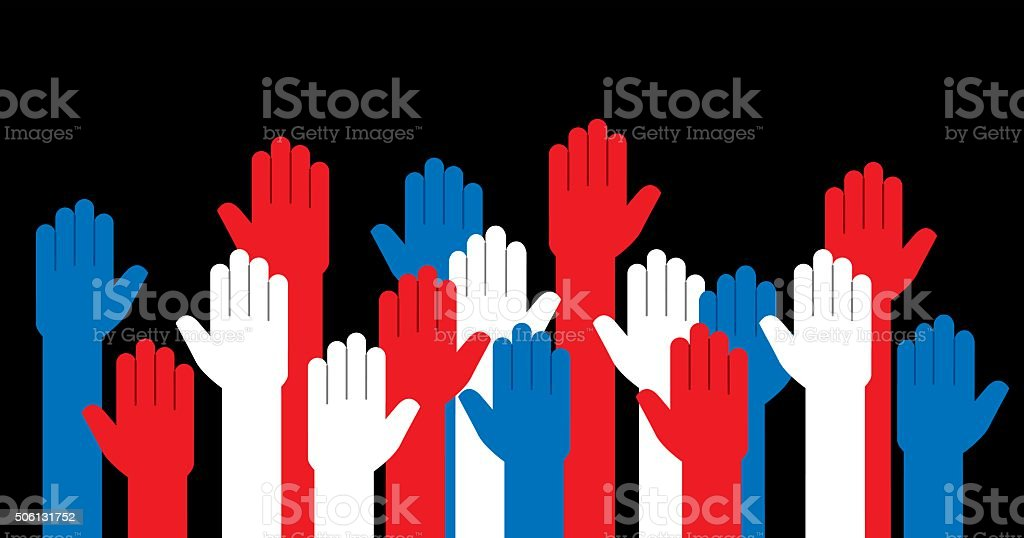 Hands Red White and Blue Raised vector art illustration