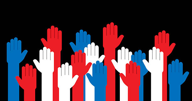 hands red white and blue raised - demokrasi stock illustrations