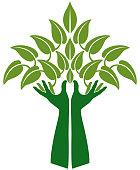 Vector Illustration of a Hands Representing Tree Clip Art