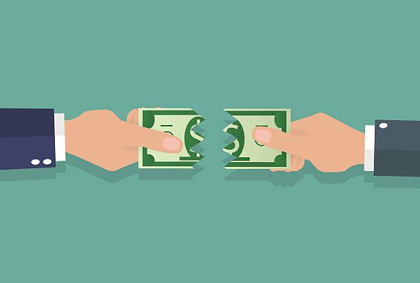 рваные banknote руки - dollar bill stock illustrations