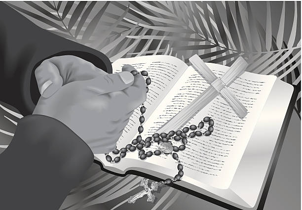 hands rosary bible - palm sunday stock illustrations, clip art, cartoons, & icons