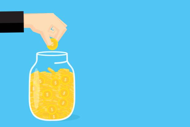 Hands saving money for business finance. vector art illustration