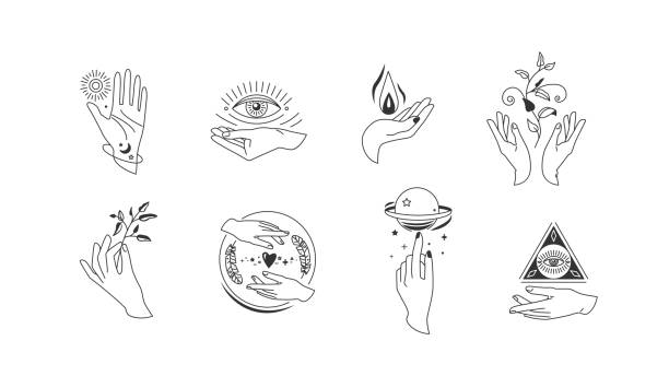 Hands set in simple flat esoteric boho style. Feminine hand logo collection with different symbol like space star planet, floral herb, moon and sun, heart love, eye, fire, drop vector art illustration