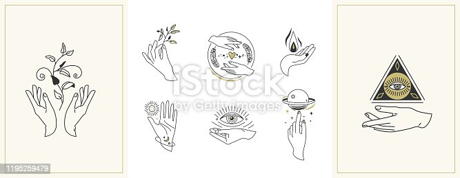 Hands set in simple flat esoteric boho style. Feminine hand logo collection with different symbol like space star planet, floral herb, moon and sun, heart love, eye, fire, drop. Vector illustration.