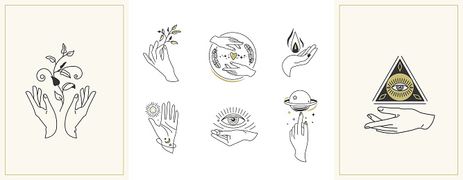 Hands set in simple flat esoteric boho style. Feminine hand logo collection with different symbol like space star planet, floral herb, moon and sun, heart love, eye, fire, drop