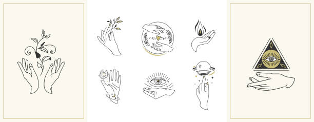 Hands set in simple flat esoteric boho style. Feminine hand logo collection with different symbol like space star planet, floral herb, moon and sun, heart love, eye, fire, drop Hands set in simple flat esoteric boho style. Feminine hand logo collection with different symbol like space star planet, floral herb, moon and sun, heart love, eye, fire, drop. Vector illustration. alchemy stock illustrations