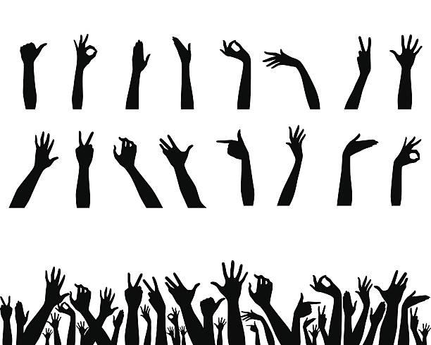 Hands set on white vector art illustration