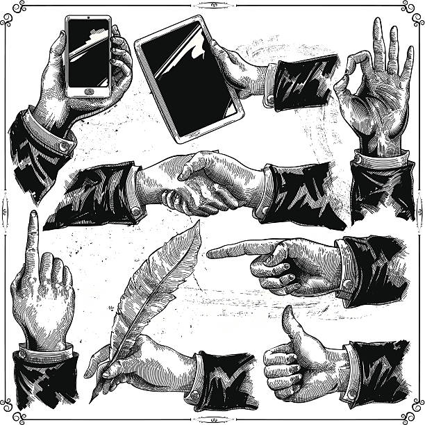 Hands set Hands set in classic style obsolete stock illustrations