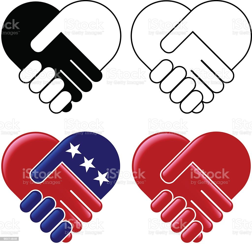 hands shaking heart stock vector art amp more images of