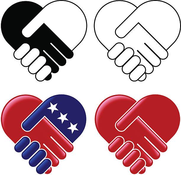 Hands shaking heart vector art illustration