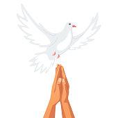 Hands showing praying gesture flat illustration