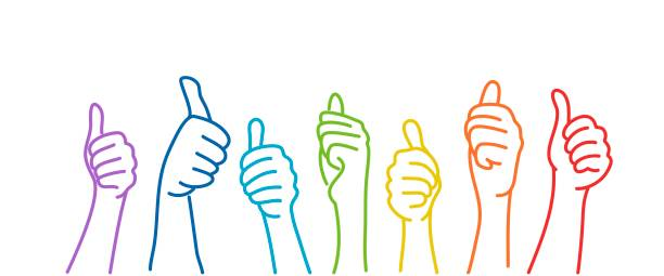 Hands showing thumbs up. Hands showing thumbs up. Colour line drawing vector illustration. community drawings stock illustrations