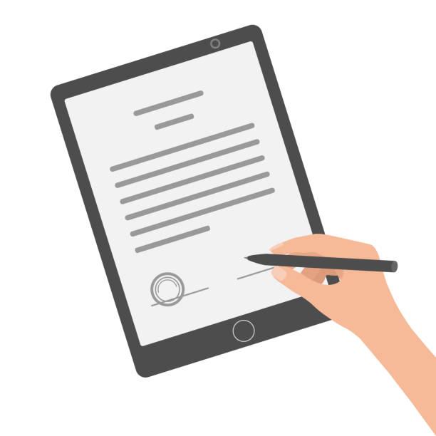 hands signing digital signature on tablet. vector illustration in flat design. - podpis stock illustrations