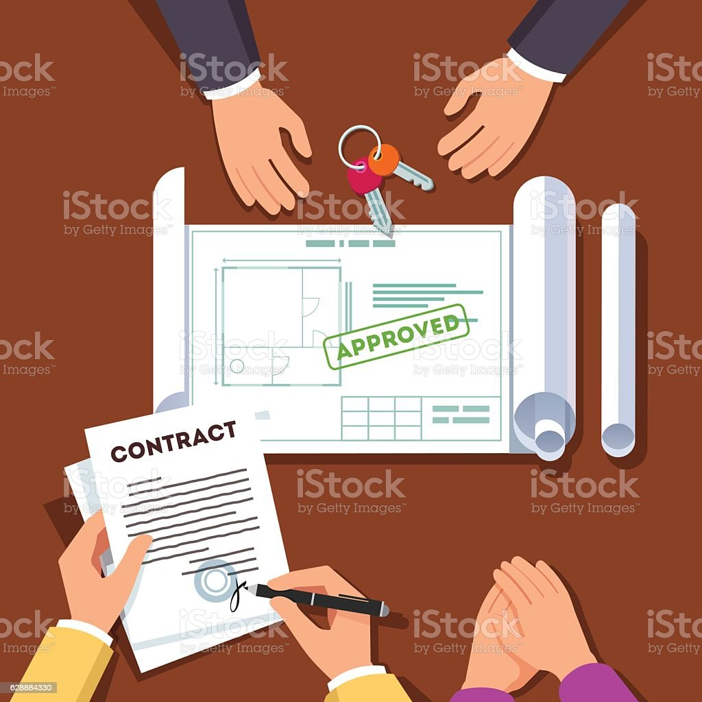 Hands signing house or apartment contract vector art illustration