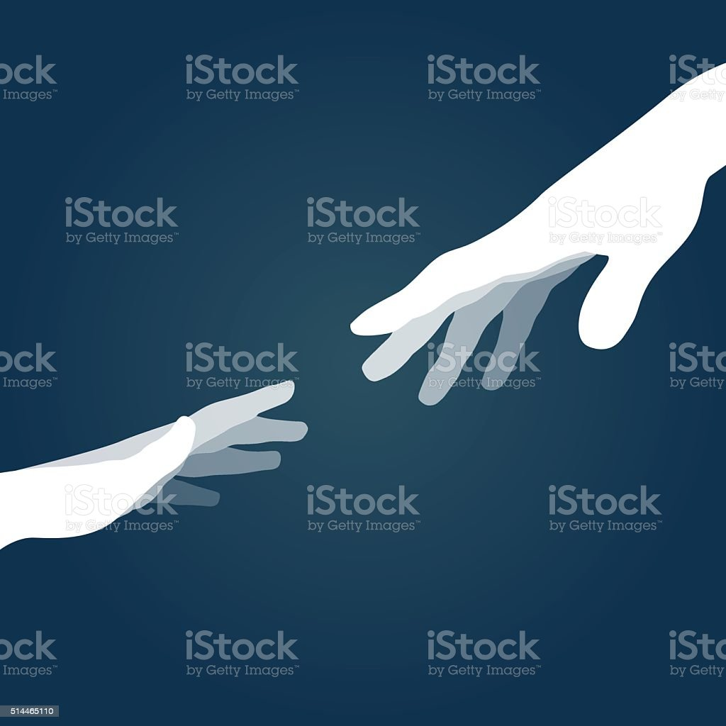 Hands silhouettes vector art illustration