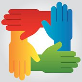 Vector illustration of four hands in various colors connected, forming a square.