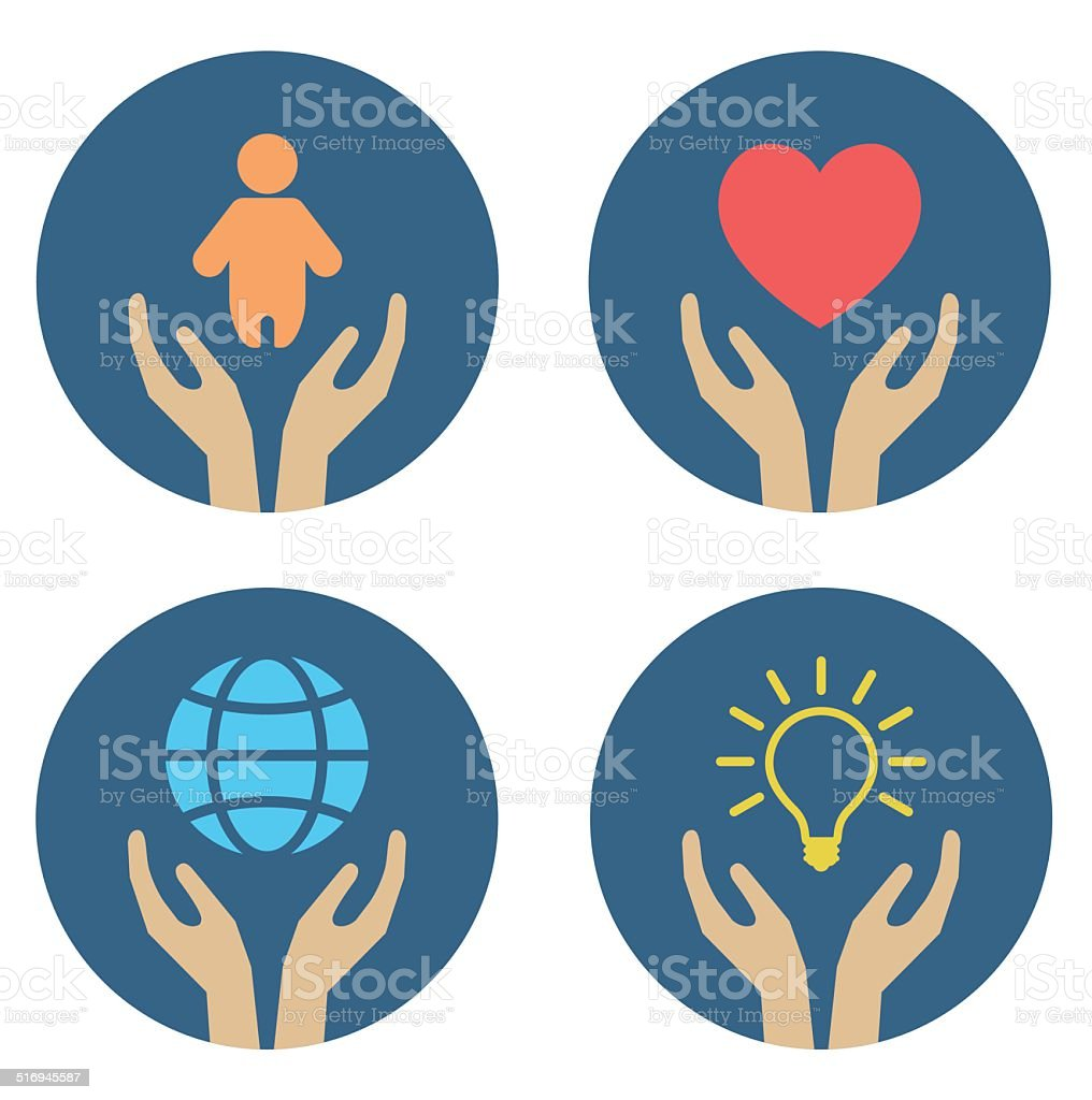 hands supporting child heart globe and lightbulb vector art illustration