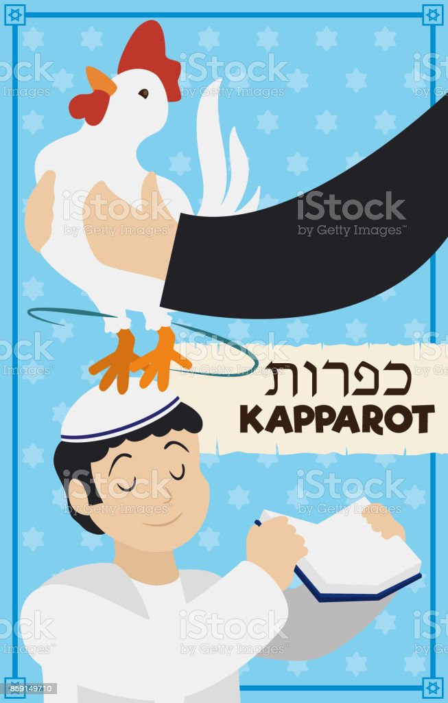 Hands Swinging a Rooster over Head of Boy for Kapparot vector art illustration