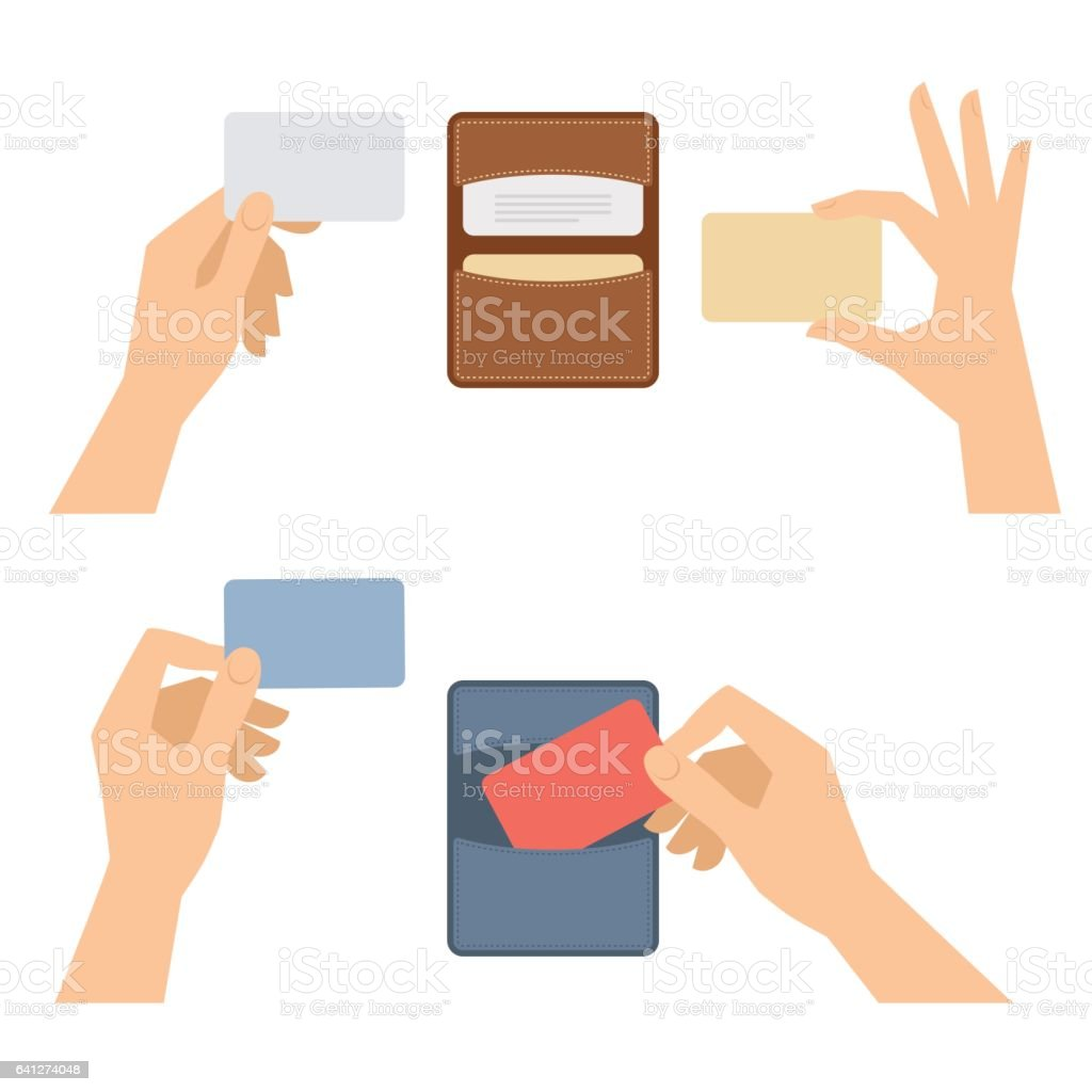 Hands takes out business card from holder, holds credit cards. vector art illustration