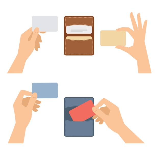 Hands takes out business card from holder, holds credit cards. Businessman hands takes out a business card from holder, holds credit cards. Isolated on white flat concept illustration of cardholders, blanks. Vector infographic elements for web, presentations. human hand stock illustrations