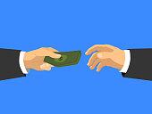 Hands taking cash money
