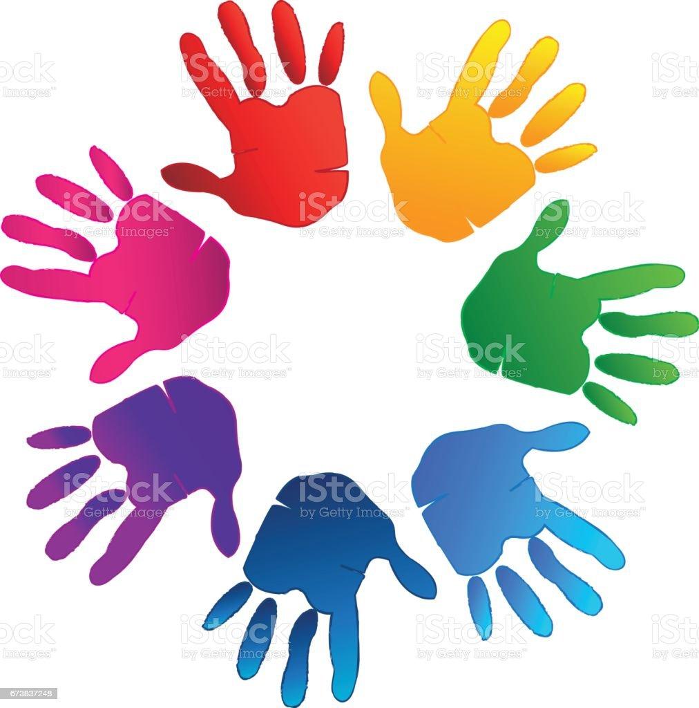 Hands teamwork logo vector vector art illustration