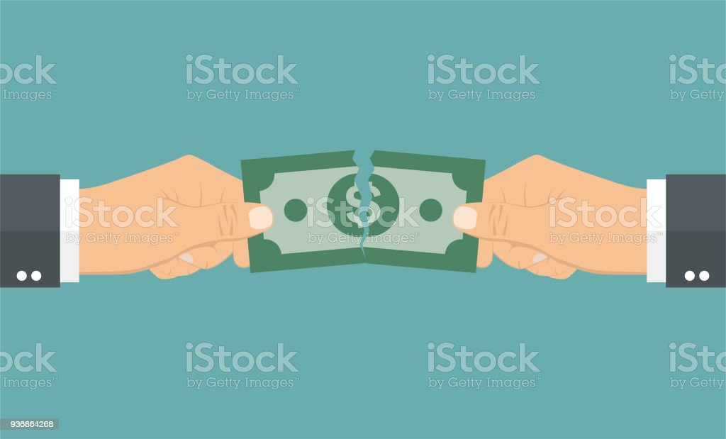 Apart Design Bank.Hands Tearing Apart A Money Bill In Two Pieces Stock Illustration
