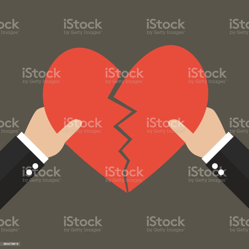 Hands tearing apart heart symbol vector art illustration