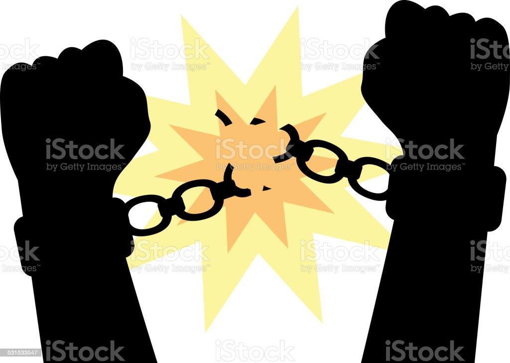 hands to break the shackles vector art illustration