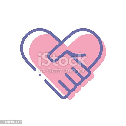 istock Hands together. Heart symbol. Vector illustration. Line icon isolated on white background 1185462764