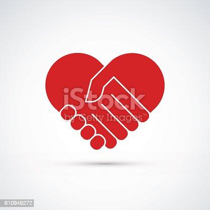 istock Hands together. Heart symbol. Vector illustration 610946272