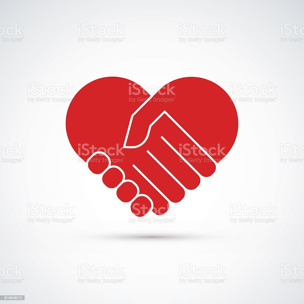 Hands together. Heart symbol. Vector illustration vector art illustration