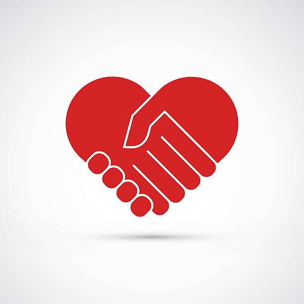 Hands together. Heart symbol. Vector illustration vector art illustration