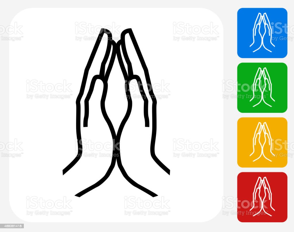 Hands Together Icon Flat Graphic Design vector art illustration