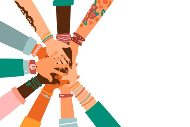 Hands together - set of different races raised up hands. The concept of education, business training, volunteering charity, party. Hands together - set of different races raised up hands. The concept of education, business training, volunteering charity, party. community stock illustrations