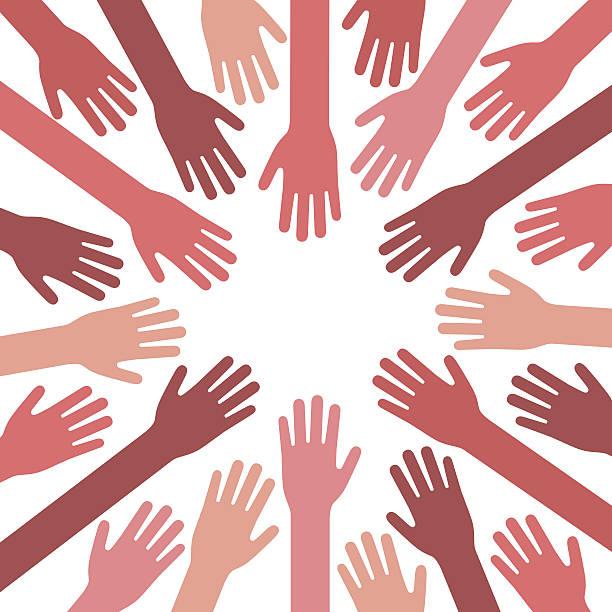 illustrazioni stock, clip art, cartoni animati e icone di tendenza di mani insieme  - mano donna dita unite