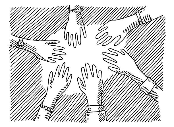 Hands Togetherness Concept Drawing Hand-drawn vector drawing of a Togetherness Concept with different Hands. Black-and-White sketch on a transparent background (.eps-file). Included files are EPS (v10) and Hi-Res JPG. women stock illustrations