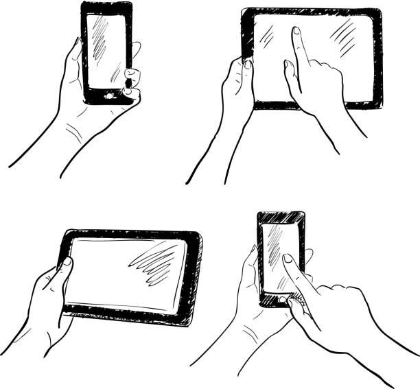 Hände Touchscreen-Skizzen-Set – Vektorgrafik