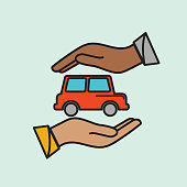 A thin line icon from a set of ride share and automotive icons. Hands Trading Vehicle.
