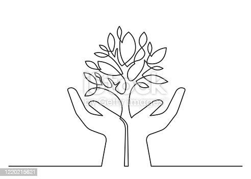 istock Hands tree one line 1220215621