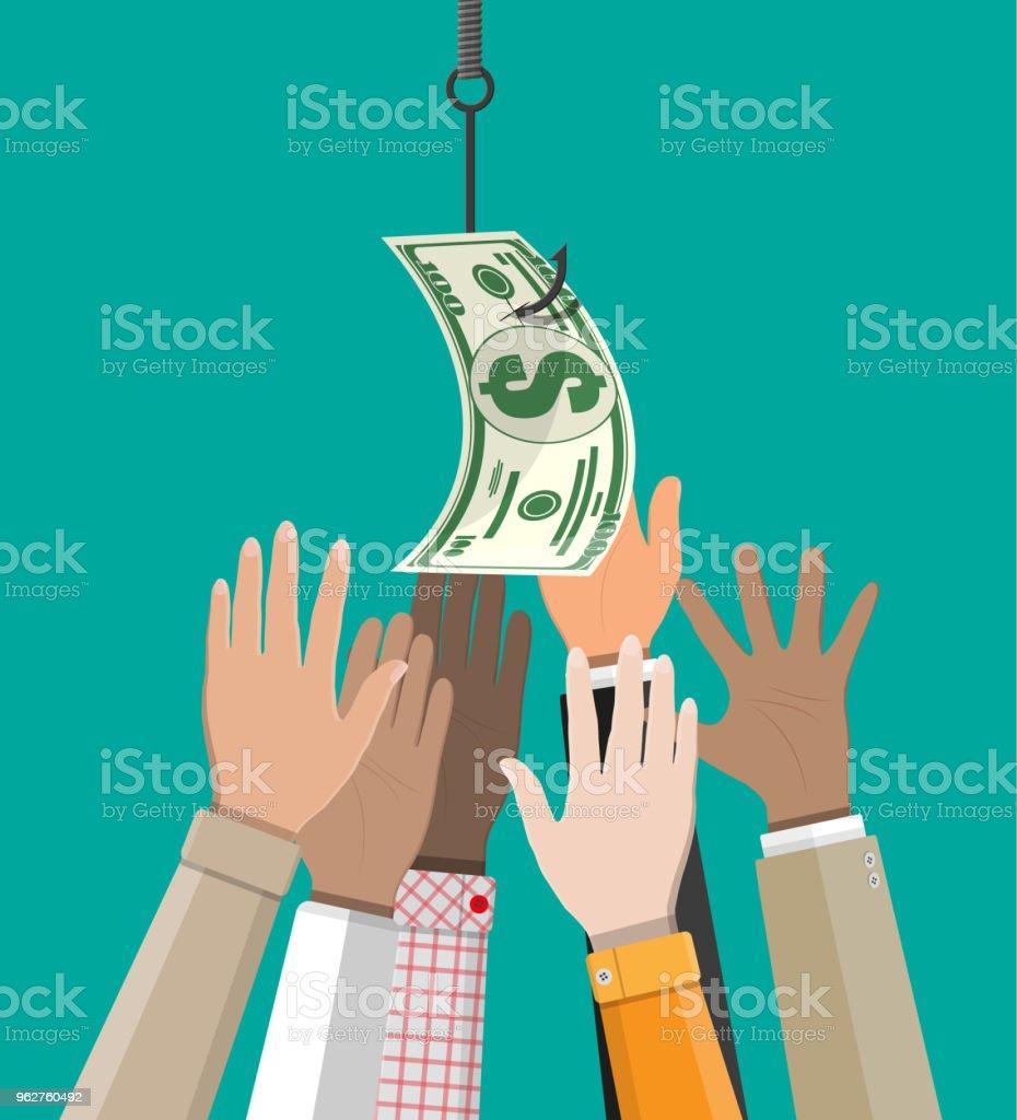 Hands trying to get dollar on fishing hook. vector art illustration