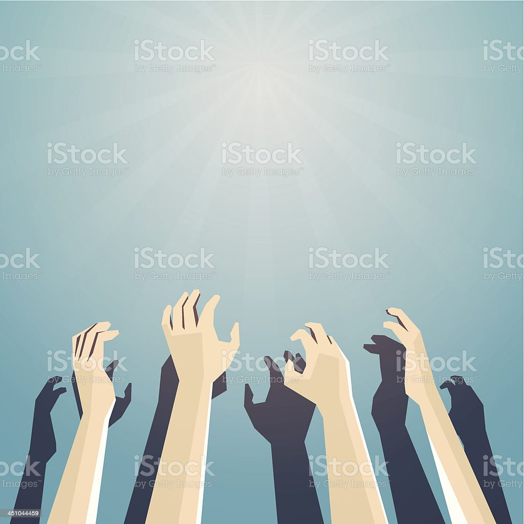 Hands trying to reach something vector art illustration