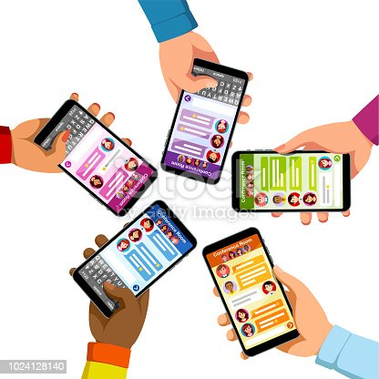 Five people group chatting sending text messages holding smart phones. Hands typing new messages using phone chat. Texting app. Modern mobile messaging communication. Flat vector isolated illustration