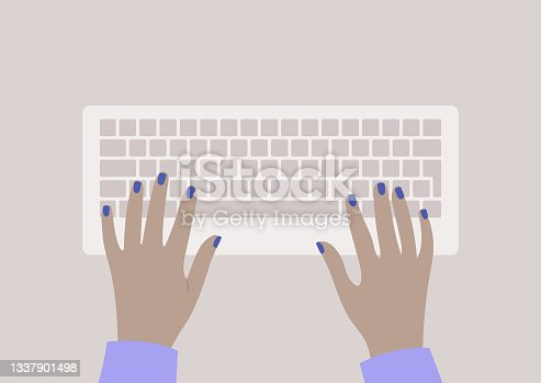 istock Hands typing on a keyboard, top view, daily office routine 1337901498