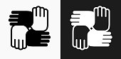 istock Hands United Icon on Black and White Vector Backgrounds 832730950