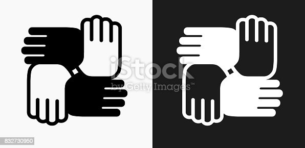 Hands United Icon on Black and White Vector Backgrounds. This vector illustration includes two variations of the icon one in black on a light background on the left and another version in white on a dark background positioned on the right. The vector icon is simple yet elegant and can be used in a variety of ways including website or mobile application icon. This royalty free image is 100% vector based and all design elements can be scaled to any size.